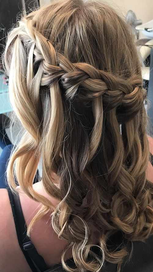 Prom hair created by our Junior Sylist Chelsey, Beautiful Waterfall plait and soft curls